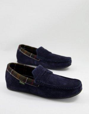 Замшевые слиперы темно-синего цвета Porterfield-Темно-синий Barbour