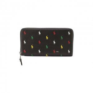 Кожаный кошелек Polo Ralph Lauren. Цвет: чёрный