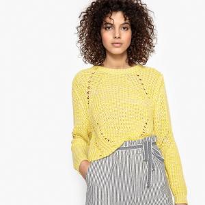 Пуловер с трикотажными вставками PAUL SUNCOO. Цвет: светло-желтый