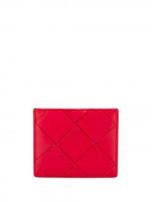Картхолдер с плетением Intrecciato Bottega Veneta. Цвет: красный