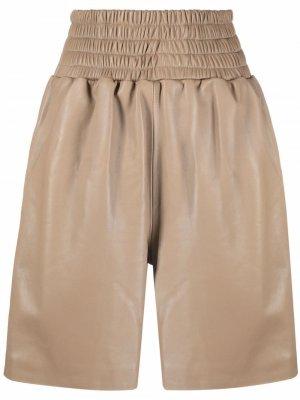 Кожаные шорты с присборенной талией Manokhi. Цвет: нейтральные цвета