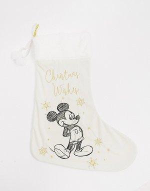 Носок для новогодних подарков с Микки Маусом -Белый Disney