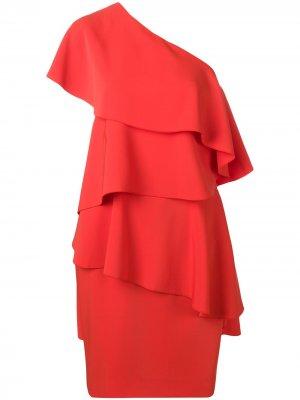 Асимметричное платье с оборками LANVIN. Цвет: красный