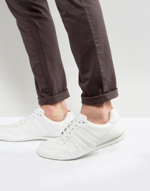 Белые кожаные кроссовки by Hugo Boss Green. Цвет: белый