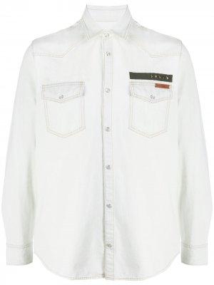 Джинсовая рубашка с нашивкой Golden Goose. Цвет: белый