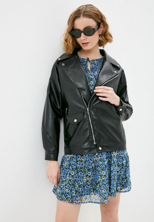 Куртка кожаная Diverius. Цвет: черный