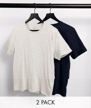 Набор из 2 футболок темно-синего и серого цвета с логотипом -Многоцветный Abercrombie & Fitch