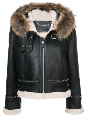 Fur trim leather jacket Barbara Bui. Цвет: чёрный