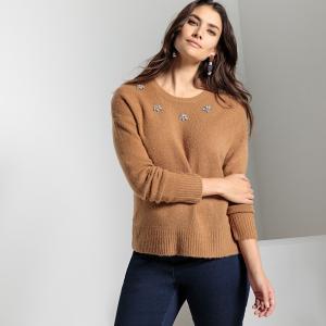 Пуловер с украшением из плотного трикотажа ANNE WEYBURN. Цвет: темно-бежевый меланж,темно-синий меланж