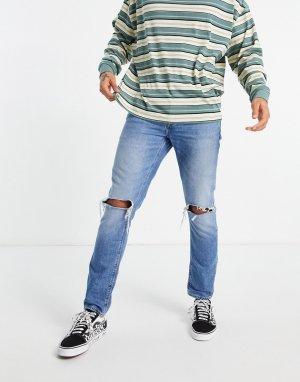Узкие джинсы выбеленного синего цвета в винтажном стиле с рваной отделкой -Голубой ASOS DESIGN