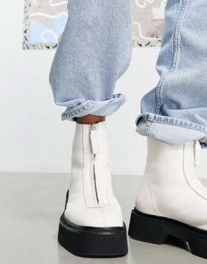 Ботинки челси из белой кожи с молнией спереди на массивной подошве -Белый ASOS DESIGN