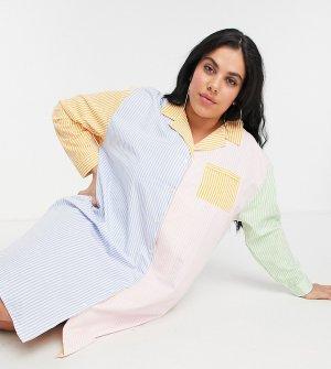 Ночная oversized-сорочка в стиле колор блок из ткани полоску пастельных тонов -Многоцветный Daisy Street Plus