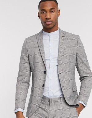 Серый узкий пиджак в клетку принц Уэльский Selected Homme