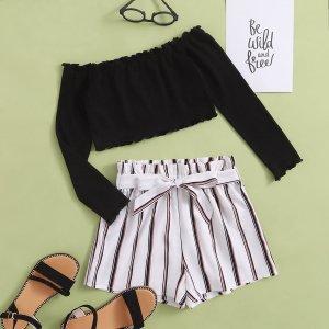 Для девочек волнистой отделкой Топ & в полоску с поясом бумага Сумка Комплект шорт SHEIN. Цвет: многоцветный