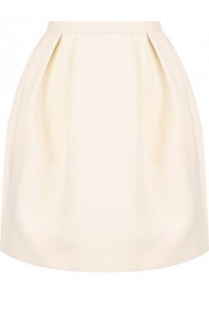 Однотонная мини-юбка из смеси шерсти и шелка Valentino. Цвет: кремовый