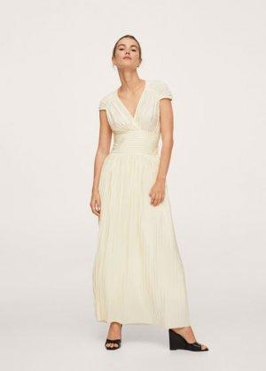 Длинное плиссированное платье - Cuarzo-a Mango. Цвет: грязно-белый
