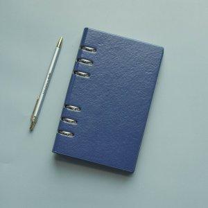1шт Однотонный блокнот с обложкой из искусственной кожи SHEIN. Цвет: синий