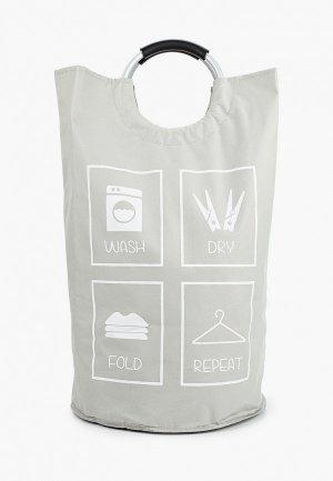 Корзина для белья Fixsen Laundry. Цвет: серый