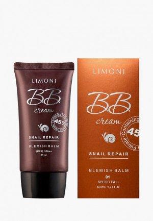 BB-Крем Limoni с экстрактом секреции улитки Repair Blemish Balm, №1, 50 мл. Цвет: бежевый