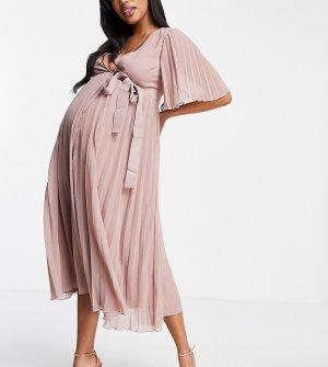 Эксклюзивное плиссированное платье миди с рукавами кимоно и поясом ASOS DESIGN Maternity-Розовый цвет Maternity