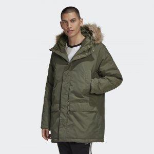 Удлиненная парка Fur Originals adidas. Цвет: зеленый