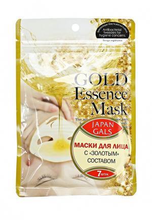 Набор масок для лица Japan Gals с «золотым» составом Essence Mask 7 шт. Цвет: белый