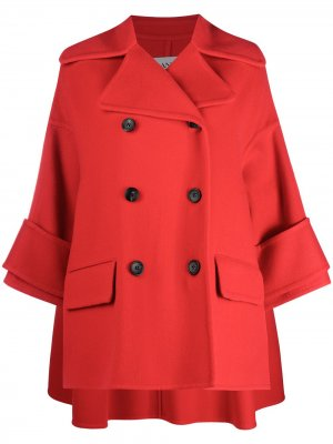 Двубортное пальто А-силуэта LANVIN. Цвет: красный