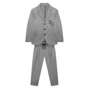 Шелковый костюм Brunello Cucinelli. Цвет: серый