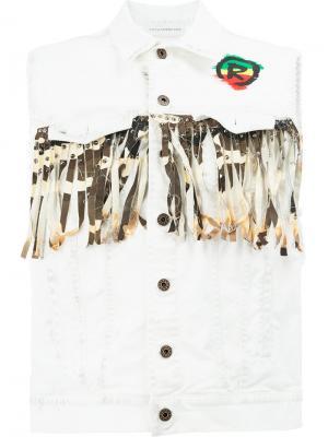 Джинсовая куртка без рукавов с логотипом Faith Connexion. Цвет: белый