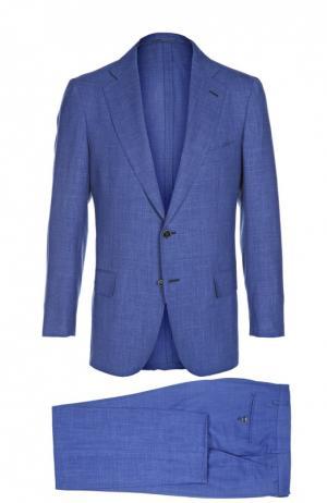 Костюм из смеси шерсти с шелком и льном Andrea Campagna. Цвет: голубой