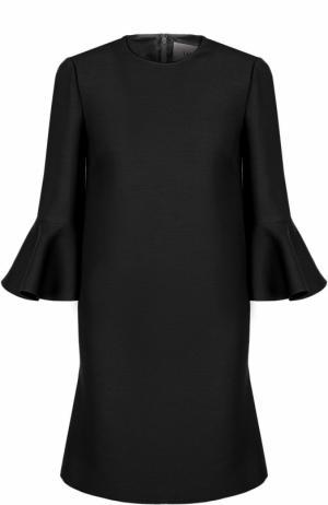 Мини-платье с расклешенными рукавами и круглым вырезом Valentino. Цвет: чёрный