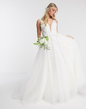 Свадебное платье с глубоким вырезом и цветочной отделкой -Белый ASOS EDITION