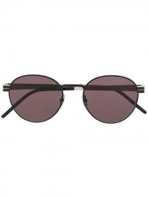 Солнцезащитные очки в круглой оправе Saint Laurent Eyewear. Цвет: серебристый