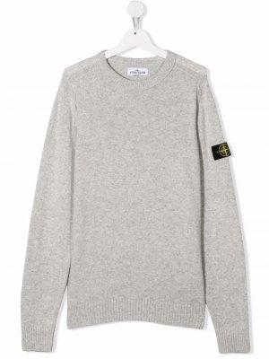 TEEN logo-patch sweater Stone Island Junior. Цвет: серый