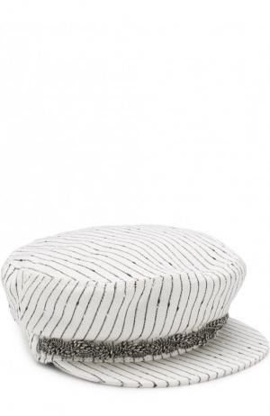 Кепка из смеси хлопка и шелка с декоративными цепочками Maison Michel. Цвет: белый