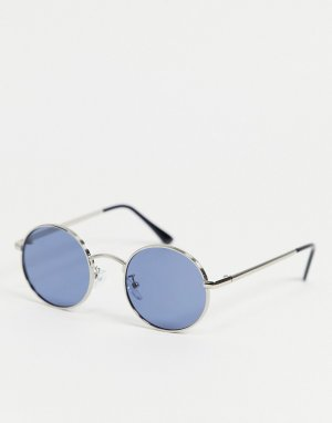 Круглые солнцезащитные очки в серебристой оправе -Серебристый Only & Sons