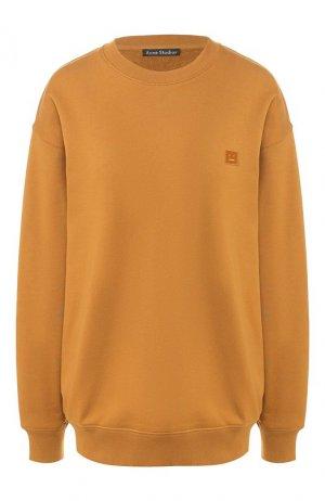 Хлопковый пуловер Acne Studios. Цвет: коричневый