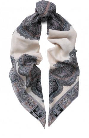 Платок из смеси шерсти и шелка с принтом Michele Binda. Цвет: бежевый