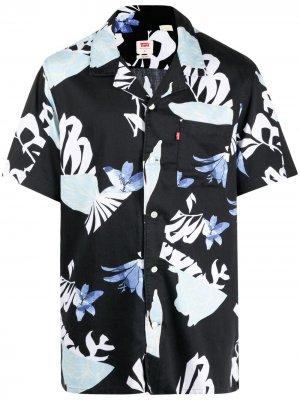 Levis рубашка с короткими рукавами и цветочным принтом Levi's. Цвет: черный