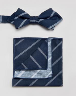 Галстук-бабочка и платок для пиджака в полоску Minimum. Цвет: синий