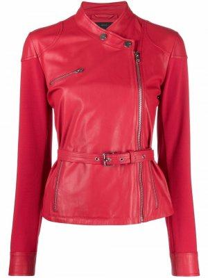 Байкерская куртка без воротника Pinko. Цвет: красный
