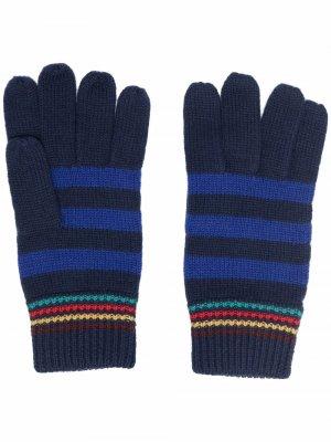 Stripe-pattern wool gloves PAUL SMITH. Цвет: синий