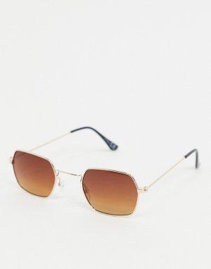 Солнцезащитные очки в золотистой шестиугольной оправе -Золотистый Jeepers Peepers