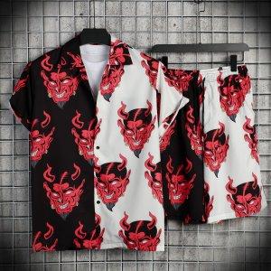 Мужской с графическим принтом Блуза & Шорты SHEIN. Цвет: многоцветный