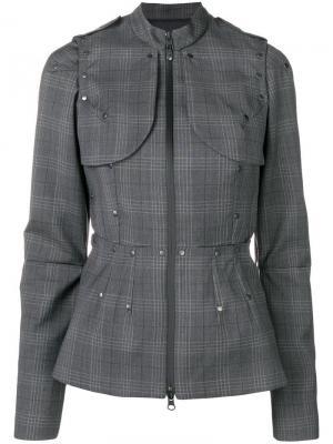Приталенная куртка в клетку A.F.Vandevorst. Цвет: серый
