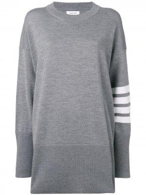 Пуловер оверсайз с полосками 4-Bar Thom Browne. Цвет: серый