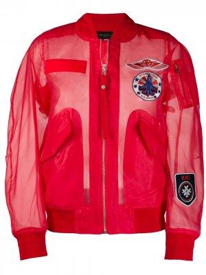 Прозрачный бомбер с вышивкой Mr & Mrs Italy. Цвет: красный