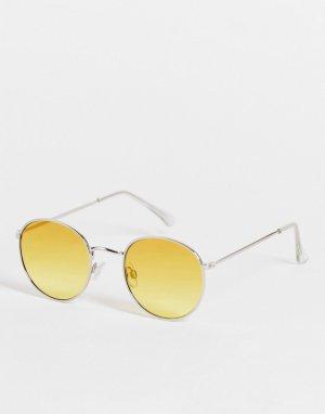 Круглые солнцезащитные очки в золотистой металлической оправе -Золотистый Topman