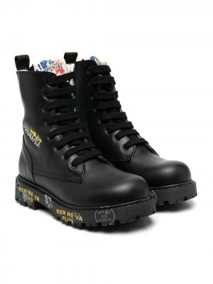Lace-up embroidered logo boots Premiata Kids. Цвет: черный