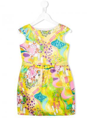 Платье с абстрактным принтом Loredana. Цвет: желтый